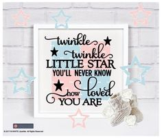 Twinkle Twinkle Little Star - Vinyl Sticker BOX FRAME 4 colours Nursery/Bedroom  #Unbranded