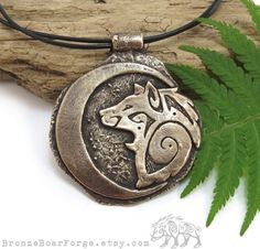 Large Tribal Wolf Necklace Crescent Moon by BronzeBoarForge, $79.00
