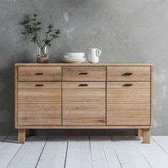 This wonderfully simple Nordic inspired design is sure to add a sense of calm and serenity to your interior. Beautifully made in mellow solid Oak with white hues, using the planked and jointed method to create defined lines, for a contemporary and fresh feel. The hand crafted brass handles, made using the traditional 'lost wax casting' method, confirm this really is a piece of furniture to last, both in build and style.