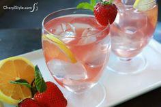 Fresh muddled strawberry mint tea