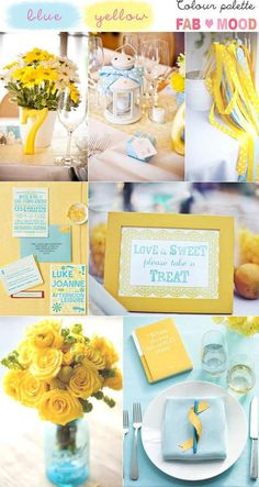 Blue yellow wedding colors mood board,yellow wedding,turquoise wedding,yellow turquoise wedding color palette - i like the centrepieces Blue Yellow Weddings, Yellow Wedding Colors, Winter Wedding Colors, Wedding Color Schemes, Blue Wedding, Trendy Wedding, Wedding Turquoise, Fall Wedding, Wedding Reception