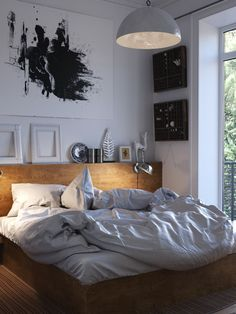 Bedroom with workspace by Roman Lyakhovskii Scandinavian Interior Bedroom, Gravity Home, Cozy Corner, Minimalist Bedroom, Interior Inspiration, Bedroom Inspiration, Outdoor Living, Bedroom Decor, Bedroom Ideas