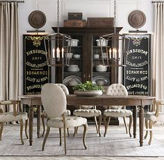 An extraordinary lovely dining room with French Linen Chairs