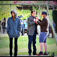 EAkorn: Been wanting to post this for awhile. Nathan Fillion, Stana Katic & I at work. #castle #castlefans