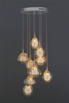 Buy Bella 10 Light Cluster Pendant from the Next UK online shop Hall Lighting, Dining Room Lighting, Bedroom Lighting, Interior Lighting, Dining Nook, Custom Lighting, Bedroom Lamps Uk, Light Fittings, Light Fixtures