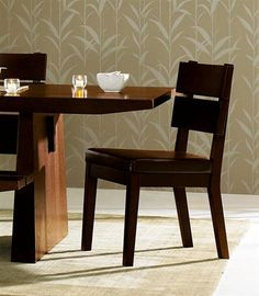 Stylish and Elegant Dining Room Furniture Table and Japanese wallpaper
