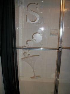 Vinyl on Shower Door.