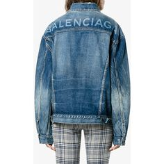 Balenciaga Like a Man denim jacket ($1,230) ❤ liked on Polyvore featuring outerwear, jackets, denim jacket, long sleeve denim jacket, jean jacket, long sleeve jean jacket, blue denim jacket and blue jackets