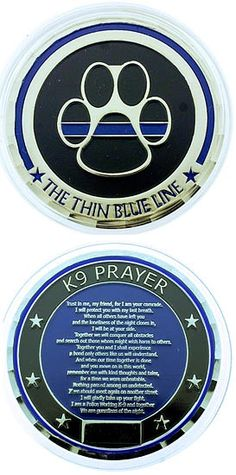 Thin Blue Line K-9 Prayer Challenge Coin