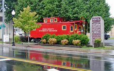 Downtown Bryson City, NC Caboose near Smokey Mtn Railroad