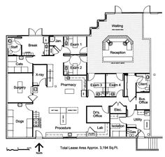 Veterinary floor plan: Southwest Veterinary Hospital: With a few changes, this is nice.