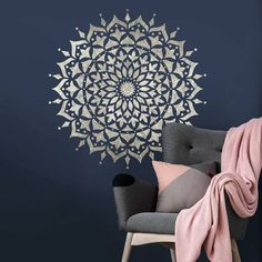 Mandala stencils for walls, floors and furniture. We offer the largest Mandala stencil collection. Reusable Mandala stencils are much better than adhesive mandala decals. Create beautiful painted designs using our Mandala stencils! Wall Stencil Designs, Stencil Wall Art, Wall Stencil Patterns, Wallpaper Stencil, Stencil Wood, Stencil Painting On Walls, Wood Wall Art, Wallpaper Ideas, Design Lotus