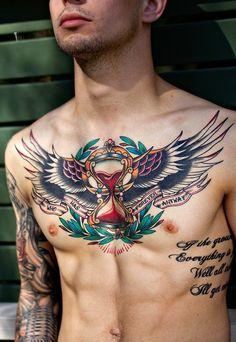 Hot Men Chest Xmas Celebration Tattoos, Christmas Celebrating Hot Men Chest Tattoo, Men Chest With Xmas Celebration Tattoo, New Year 2015 Ceremony, Christmas Tattoos, New Year 2015 Men Chest Tattoo