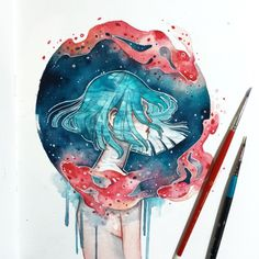 Ethereal Watercolor Paintings Beautifully Capture Our Interconnected World In a swirl of color and texture, artist Hieu—better known as Kelogsloops—paints spectacular portraits that feel both intimate and grandiose, as if the subj Art Inspo, Kunst Inspo, Art Anime, Anime Kunst, Art Sketches, Art Drawings, Drawing Portraits, Painting & Drawing, Watercolor Paintings