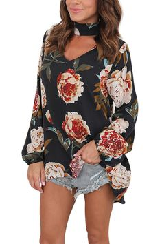 JasWell Flower Blouses Fashion Floral Print Chiffon Blouse Women Long Sleeve Casual Halter V-Neck Loose Shirts Tunic Tops Blusas Floral Tops, Retro Floral, Loose Shirts, Printed Shirts, Plus Size Blouses, Bell Sleeves, Puff Sleeves, Womens Fashion, Style Fashion