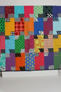 """Modern Baby Quilt """"James"""" Contemporary Bright Colors in Geometric Pattern; Baby, Toddler, Child or Lap Quilt; Play Mat; Wall Hanging"""