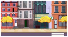 Autumn city street with trees and buildings in background Free Vector Episode Interactive Backgrounds, Episode Backgrounds, Backgrounds Free, Vintage Backgrounds, Christmas Tree Background, Merry Christmas Banner, Christmas Card Template, Street Background, New Years Background