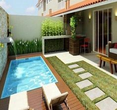 Lovely Backyard Patio Design Ideas With Beautiful Pool 15 Small Swimming Pools, Small Pools, Swimming Pools Backyard, Swimming Pool Designs, Pool Decks, Small Inground Pool, Indoor Pools, Small Backyards, Backyard Pool Landscaping