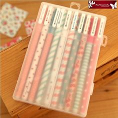 """""""Happy Day"""" 10 Pcs Mix Color Rollerball Pens Gel Pen Pens Box Cute Stationery #UnbrandedGeneric"""