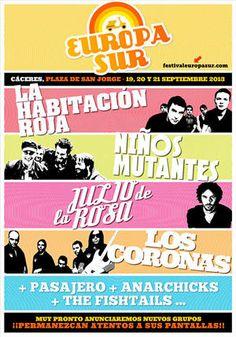 Entradas para La Habitación Roja + Niños Mutantes + Julio de la Rosa + Los Coronas + Pasajero + Anarchicks + The Fishtails en Cáceres el 19 de septiembre 2013 en notikumi/