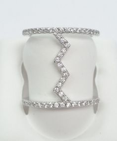 0.50 ct CZ Double Bar with Heartbeat Bridge Fashion Ring in Sterling Silver