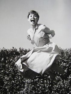 "Audrey Hepburn, 1955.  Photograph from Philippe Halsman's ""Jump"" series."