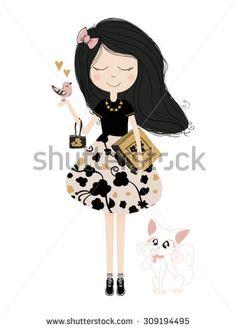 Beautiful romantic girl/cute girl/T-shirt Graphics/illustration princess girl/Vector Cute beautiful fashionable girl