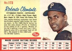 post cereal baseball cards clemente | ... 1962 post cereal card size 3 1 2 x 2 1 2 number of cards in set 211