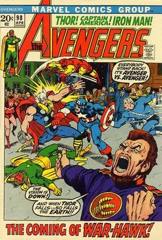 Among us walks Hawkeye: After the Kree-Skrull war, the Goliath jute fruce wears off and Clint Barton resumes his regularly scheduled identity, albeit in a tribal hippie getup. In other news, Mars - er, Ares needs violence (he'll hit on Venus later on). Cover and interiors by Barry (Windsor) Smith (and you thought Conan was a barbarian).