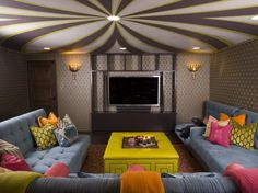So cute! Love the colors! eclectic media room by SoCal Contractor--how fun! -dt