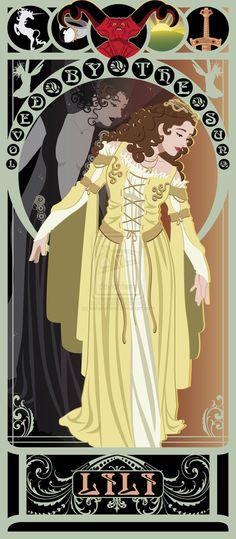 "Mucha Style - "" Art Nouveau Posters of and Movie Heroines: ""Legend"" Illustration in style of ""Alphonse Mucha"" Alphonse Mucha, Fantasy Movies, Fantasy Art, Non Disney Princesses, Princess Disney, Marvel Comics, Art Nouveau Poster, Beautiful Series, Beautiful Artwork"