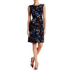 Anne Klein Leaf Drop Waist A-Line Dress