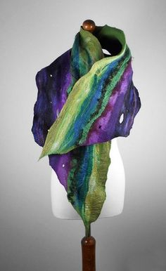 Stand out in a crowd with our unique creations. Original, hand crafted, artfull accessories made from high quality merino wool and silk, eco standard. Designed and made in Europe by married designer couple. Nuno Felting, Needle Felting, Nuno Felt Scarf, Felted Scarf, Turbans, Felt Pictures, Wool Felt, Felted Wool, Green Wool