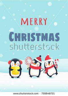 Merry Christmas with cute animals. Penguins with Christmas gifts. Stock photography, images, pictures, Illustrations, ideas. Download vector illustrations and photos on Shutterstock, Istockphoto, Fotolia, Adobe, Dreamstime