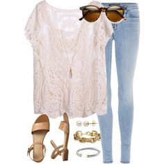 lace shirt ootd by tex-prep on Polyvore featuring J Brand, Gap, J.Crew, Lord & Taylor, David Yurman and Tiffany & Co.