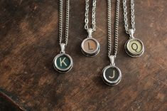 Typewriter Letter Necklaces by Ewa Trojanowska - choose the letter you need. Made from German Erika typewriter keys.