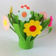 Construction paper flowers vase filled with gift wrap ribbon kid construction paper flowers ideas mightylinksfo