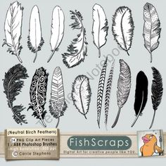 tattoo idea, silhouett, feather doodle, clipart, clip art, art feathers, digital stamps, brush, hand drawn