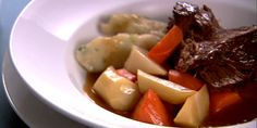 We all know her as the baking expert, but Anna Olson certainly knows a thing or two when it comes to warm, comforting meals. From her many episodes of Fresh and her new food series, Inspired, take a look at Anna's most delicious soup and stew recipes. Corned Beef Recipes, Roast Recipes, Cooking Recipes, Best Roast Beef Recipe, Other Meat Recipes, Stew And Dumplings, Cooking A Roast, Good Roasts, Food Network Canada