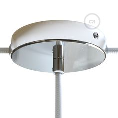 Creative-Cables 5 holes chrome ceiling rose kit with cylindrical chrome metal cable retainers