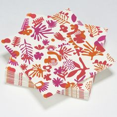 Serviettes en papier exotic rouge, orange et violet