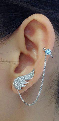 Product Information - Product Type: Pair of Earring Cuffs ear cuff earring ear lobe cartilage helix angel wings Ear Jewelry, Cute Jewelry, Body Jewelry, Cartlidge Earrings, Ear Climber, Cool Ear Piercings, Earring Trends, Fantasy Jewelry, Chain Earrings