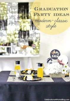 Graduation Party Ideas - Graduation Party Ideas - Modern Classic Style by CelebrationsAtHome.com | Pear Salad a blog by Pear Tree Greetings