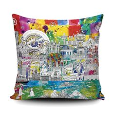 This cushion features a bright and colourful depiction of Liverpool. Carefully researched, this drawing includes key landmarks and features from the city. The Three Graces and The Liverpool Metropolitan Cathedral find a home and the iconic tiled floor from St George's Hall is included alongside Liverpools World Museum – and even some of its exhibits!  #liverpool #cityscape #cushion #homeware #interiordesign Liverpool Skyline, St Georges Hall, Finding A House, Gift For Lover, Bridesmaid Gifts, Album Covers, House Warming, Handmade Items, Cushions