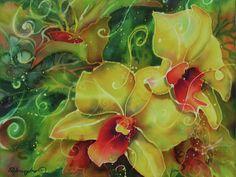 Orchid Series 11 | Painting on silk | Deborah Younglao