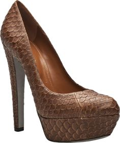 """Python pump in bruno from Sergio Rossi. This pump features an almond toe, python detail throughout, a 1"""" platform, and a 6.5"""" heel."""