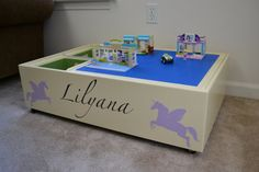 Personalized roll around lego table by TheLazyDogStudio on Etsy, $190.00