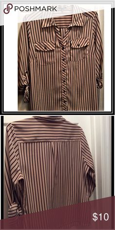 🅿️Button Down Shirt Tan with black strips button down shirt. 2 front pockets, sleeves fold to wear 1/4 length. Good condition. Material is 97% polyester 3% Spandex. Elementz Woman Tops Button Down Shirts