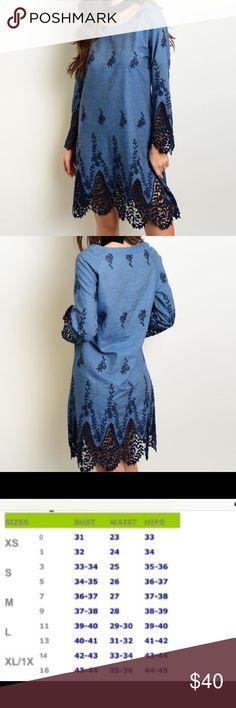 Denim Crochet Dress Beautiful denim dress with crochet detail.  Nice add to the fall/winter wardrobe! Material: 100% cotton.  Price is firm unless bundled  Dresses