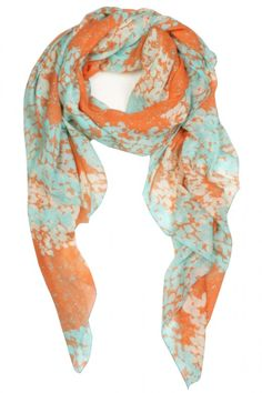 Cute Summer Scarf Coral and aqua print, with lightweight cute design, perfect scarf to add to your summer closet.